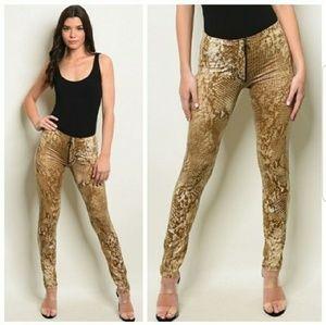Pants - Mocha Snake Print Pants w/Zipper